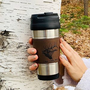brown leather banded elk travel mug