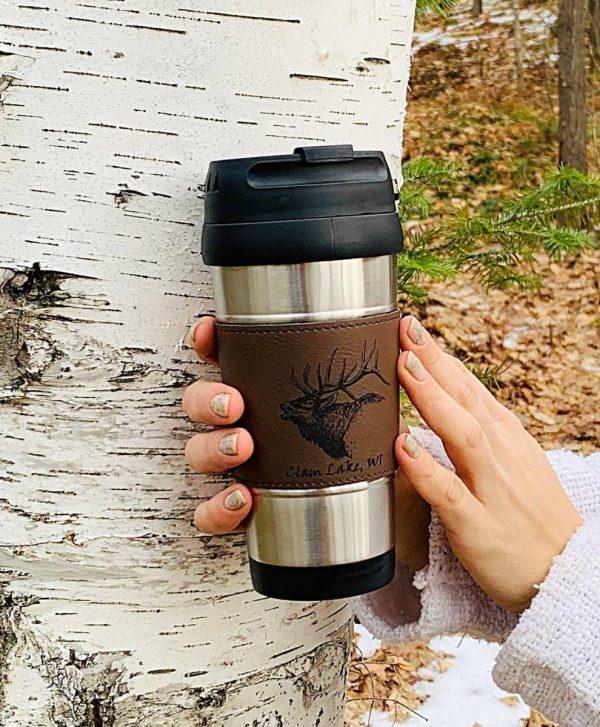 brown leather banded elk travel mug